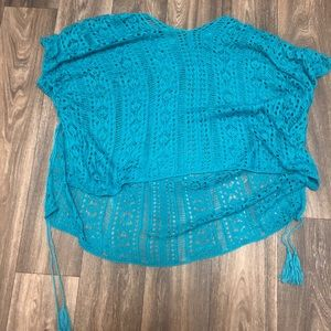 Other - Teal mesh lace swim suit cover up
